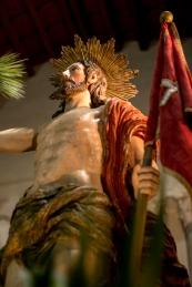 La statua del Cristo Risorto che sarà portata in processione per l'incontro della domenica sera.